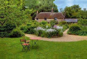 Premium Textil-Leinwand 75 cm x 50 cm quer Thomas Hardy Cottage