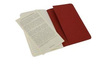 Moleskine Cahier Pocket Ruled Red Cover P. 3er Pack