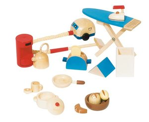 Goki 51939 - Accessoires Küche, 11teilig für Puppenhaus, Holz