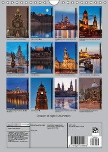 Dresden at night / UK-Version (Wall Calendar 2015 DIN A4 Portrai