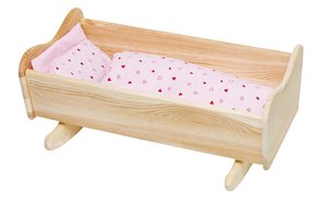 Goki 51871 - Puppenwiege mit Bettzeug, Holz 60 x 38 x 26,5 cm