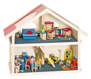 Goki 51961 - Puppenhaus, 2 Etagen, Holz aus Linde, 65 cm