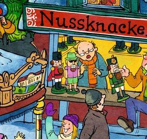 Wimmeliger Weihnachtsmarkt. Wand-Adventskalender