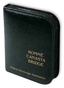 Rommé / Canasta / Bridge. Französisches Bild. Im Lederfaser-Etui