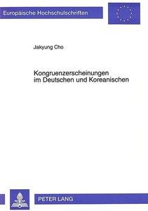 Kongruenzerscheinungen im Deutschen und Koreanischen