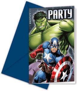 Marvel Avengers Power Einladungskarten & Umschläge 6 Stück