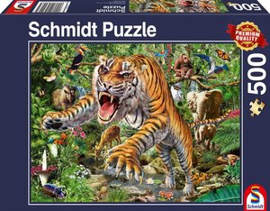 Tiger-Angriff. Puzzle 500 Teile