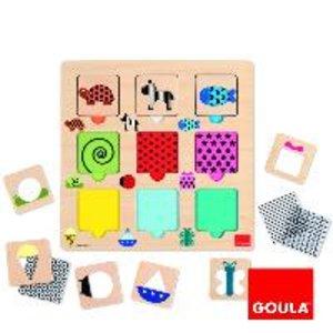 Goula D53130 - Holzpuzzle transparente Muster, 18-teilig