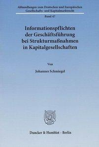 Informationspflichten der Geschäftsführung bei Strukturmaßnahmen