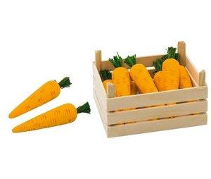 Goki 51677 - 10 Möhren, Karotten, in Holzkiste Stiege, Holz, für