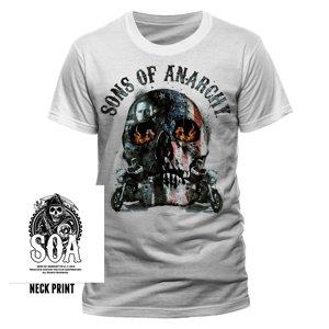 Biker Skull (T-Shirt,Weiss,Größe L)