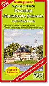 Ausflugskarte Dresden, Sächsisch Schweiz und Umgebung 1:125000
