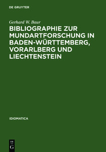 Bibliographie zur Mundartforschung in Baden-Württemberg, Vorarlb
