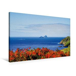 Premium Textil-Leinwand 90 cm x 60 cm quer Skellig Rocks, Irland