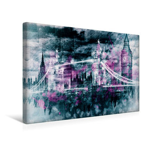 Premium Textil-Leinwand 45 cm x 30 cm quer LONDON Collage
