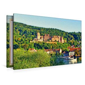 Premium Textil-Leinwand 120 cm x 80 cm quer Schloss Heidelberg