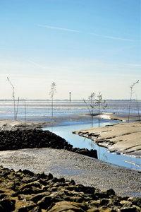 Premium Textil-Leinwand 60 cm x 90 cm hoch Priele im Wattenmeer