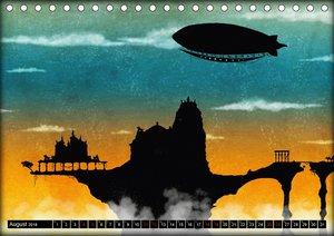 Luftschiffe über fremden Landschaften