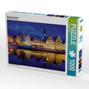 CALVENDO Puzzle Graslei bei Nacht 1000 Teile Lege-Größe 64 x 48