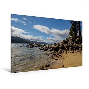 Premium Textil-Leinwand 120 cm x 80 cm quer Sand Harbor Beach /