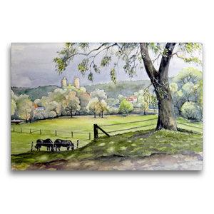 Premium Textil-Leinwand 75 cm x 50 cm quer Landschaft am Saaleck