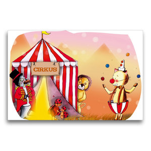 Premium Textil-Leinwand 75 cm x 50 cm quer Hurra, der Zirkus ist