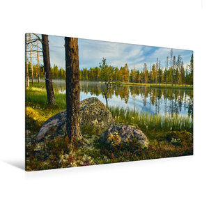 Premium Textil-Leinwand 120 cm x 80 cm quer Atemberaubende Seenl