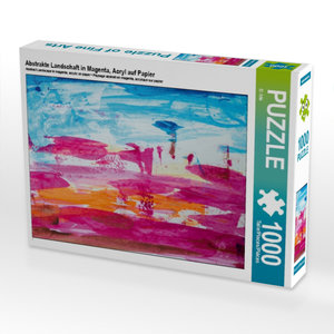Abstrakte Landschaft in Magenta, Acryl auf Papier 1000 Teile Puz