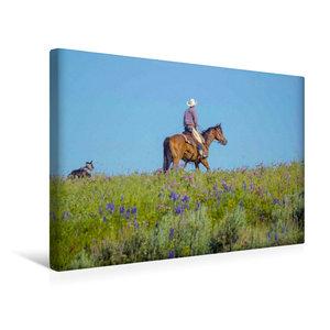 Premium Textil-Leinwand 45 cm x 30 cm quer Cowboy mit Hund und P
