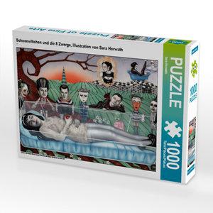 CALVENDO Puzzle Schneewittchen und die 8 Zwerge, Illustration vo