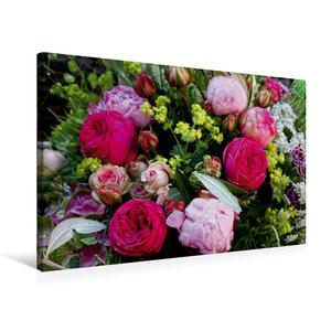 Premium Textil-Leinwand 75 cm x 50 cm quer Bunter Blumenstrauss