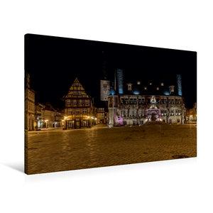 Premium Textil-Leinwand 90 cm x 60 cm quer Rathaus in Quedlinbur