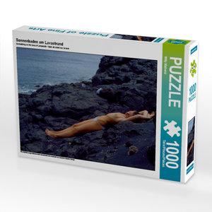 Sonnenbaden am Lavastrand 1000 Teile Puzzle quer