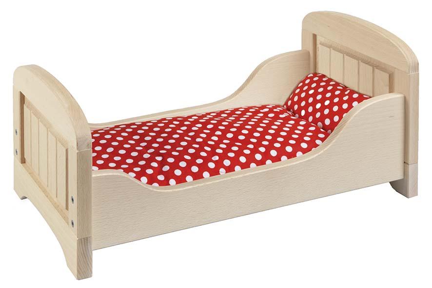 Goki 51701 - Puppenbett, 54x29x25 cm, Holz, Buche natur - zum Schließen ins Bild klicken