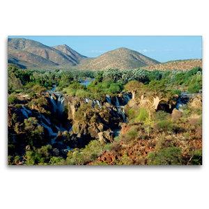 Premium Textil-Leinwand 120 cm x 80 cm quer Epupa Falls