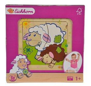 Eichhorn 100005805 - Schaf Linie Einlegepuzzle, bunt