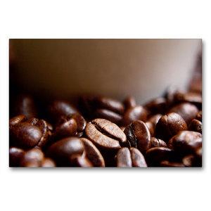 Premium Textil-Leinwand 90 cm x 60 cm quer Frische Kaffeebohnen