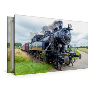 Premium Textil-Leinwand 120 cm x 80 cm quer Dampflok S1916 im Le