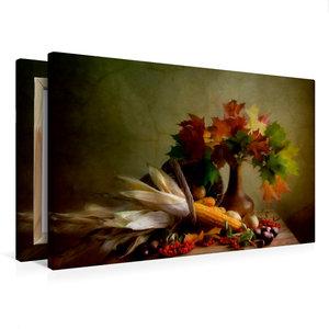 Premium Textil-Leinwand 75 cm x 50 cm quer Herbstliches Stillleb