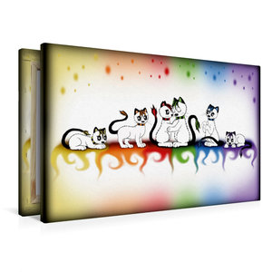 Premium Textil-Leinwand 90 cm x 60 cm quer bunte Kätzchen