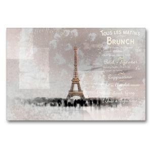 Premium Textil-Leinwand 90 cm x 60 cm quer PARIS Collage