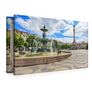 Premium Textil-Leinwand 90 cm x 60 cm quer Platz Rossio