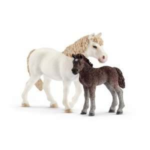 Pony Stute und Fohlen, Kunststoff-Figur