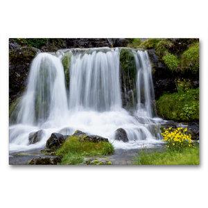 Premium Textil-Leinwand 90 cm x 60 cm quer Wasserfall am Dynjand