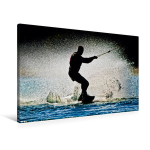 Premium Textil-Leinwand 90 cm x 60 cm quer Wakeboarden