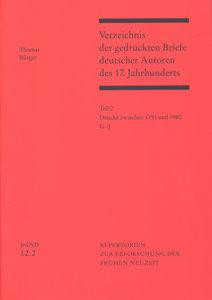 Verzeichnis der gedruckten Briefe deutscher Autoren des 17. Jahr