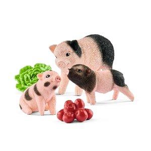Mini-Schwein Mutter und Ferkel, Kunststoff-Figur