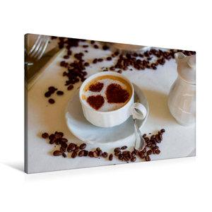 Premium Textil-Leinwand 90 cm x 60 cm quer Kaffee mit Herz