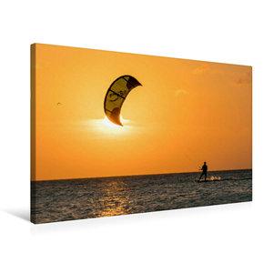 Premium Textil-Leinwand 75 cm x 50 cm quer Kitesurfen in den Son