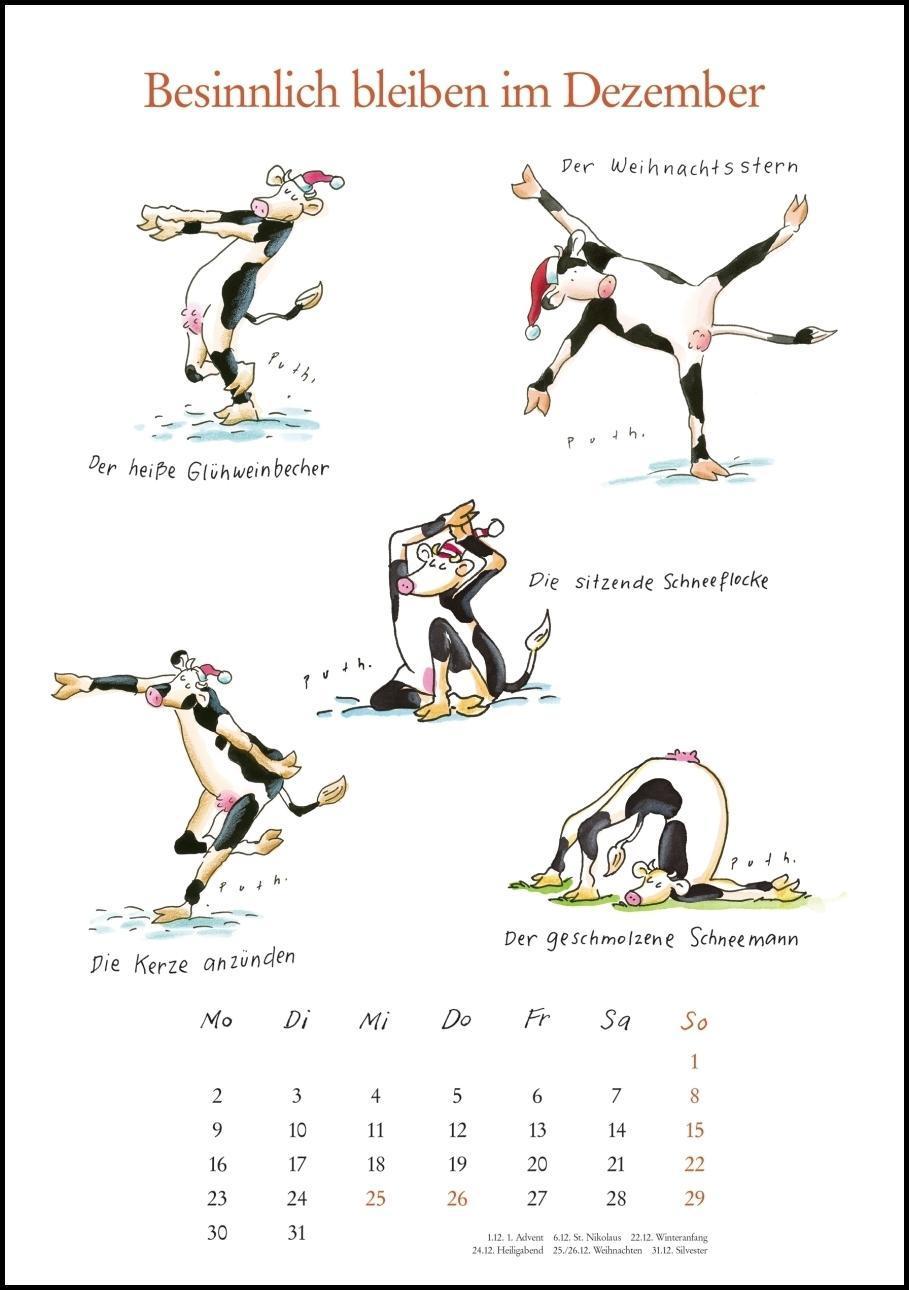 Mit Den Yoga Kuhen Durchs Jahr 2019 Lustige Cartoons Wandkal